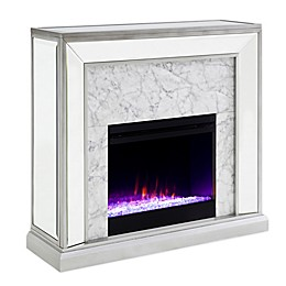 Southern Enterprises© Trandling Color Changing Faux Stone Mirrored Electric Fireplace in Silver
