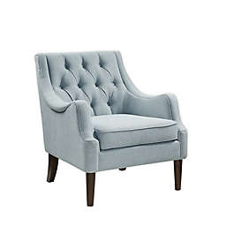Madison Park Qwen Button Tufted Accent Chair in Dusty Blue