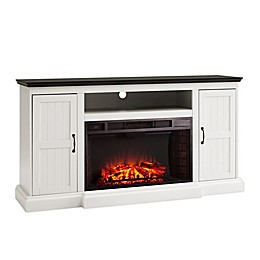 Southern Enterprises Belranton Widescreen Media Console Electric Fireplace with Storage in White