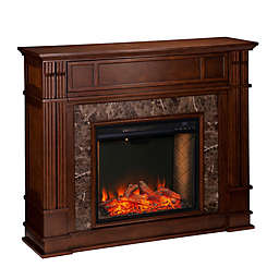 Southern Enterprises Highgate Alexa-Enabled Faux Stone Media Stand Electric Fireplace