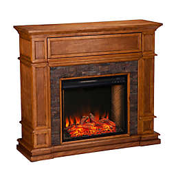 Southern Enterprises Belleview Alexa-Enabled Faux Stone Electric Fireplace in Sienna