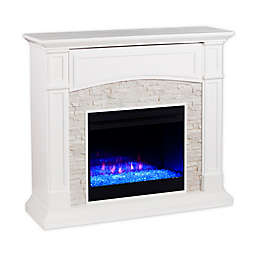 Southern Enterprises Seneca Color Changing Faux Stone Media Stand Electric Fireplace