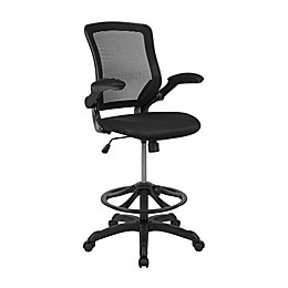Flash Furniture Mid-Back Mesh Drafting Chair with Flip-Up Arms