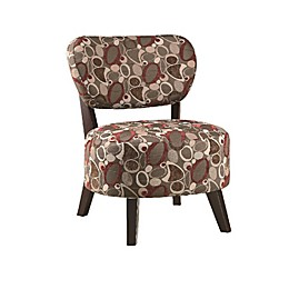Renton Oblong Accent Chair in Red/Brown