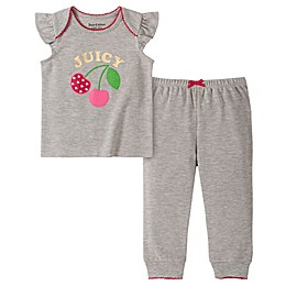 Juicy Couture® 2-Piece Cherry Logo Top and Pant Set in Grey