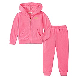 Juicy Couture® 2-Piece Logo Terry Cloth Hoodie and Pant Set in Pink