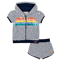 Juicy Couture® 2-Piece Short Sleeve Hoodie and Short Set in Navy