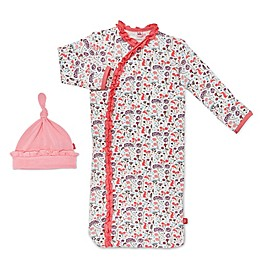 Magnetic Me by Magnificent Baby® Size 0-3M Beatrix Floral Magnetic Gown and Hat Set in Pink