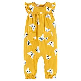 carter's® Butterfly Jersey Jumpsuit in Mustard