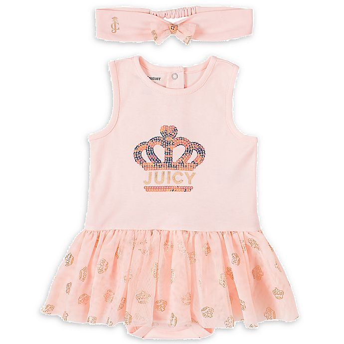 Alternate image 1 for Juicy Couture® 2-Piece Sunsuit and Headband Set in Rose Gold