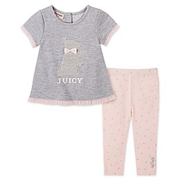 Juicy Couture® 2-Piece Terrier Dog Top and Pant Set in Grey/Pink