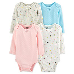carter's® 4-Pack Dot/Floral Long Sleeve Bodysuits