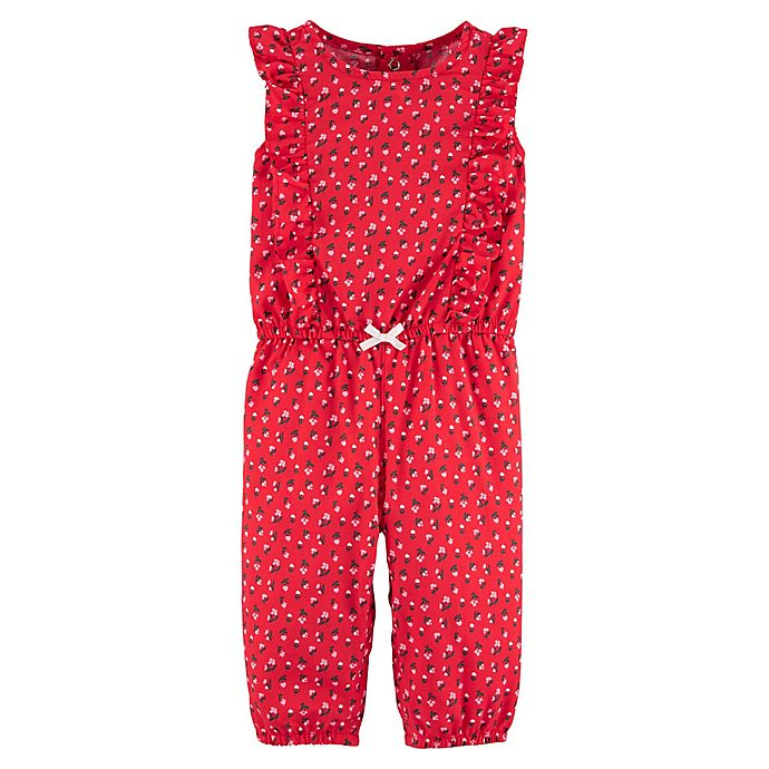 Alternate image 1 for carter's® Floral Jumpsuit in Red