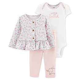 carter's® 3-Piece Floral Peplum Top, Bodysuit, and Pant Set in Pink