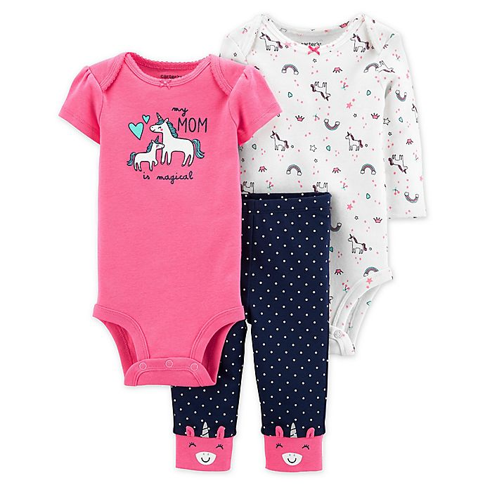 Alternate image 1 for carter's® 3-Piece Magical Mom Unicorn Bodysuits and Pant Set in Pink