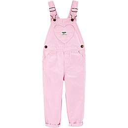 OshKosh B'gosh® Pink Heart Hickory Striped Overalls