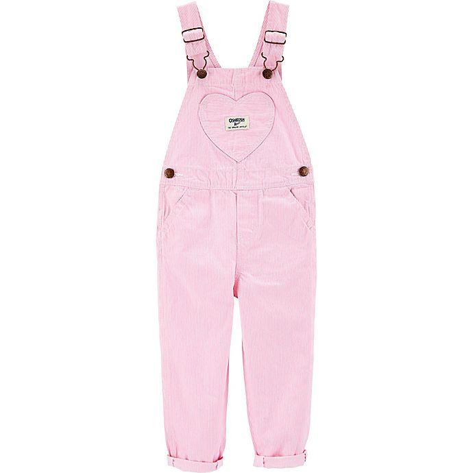 Alternate image 1 for OshKosh B'gosh® Pink Heart Hickory Striped Overalls