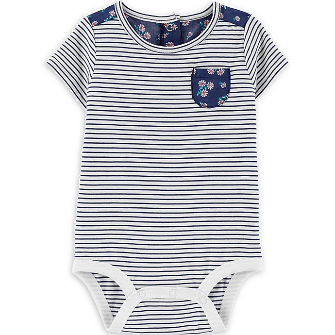Alternate image 1 for carter's® Striped & Daisies Bodysuit