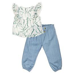 Jessica Simpson 2-Piece Vine Toddler Top and Pant Set in Sea Salt