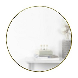 Umbra® Hubba 34-Inch Round Wall Mirror in Brass