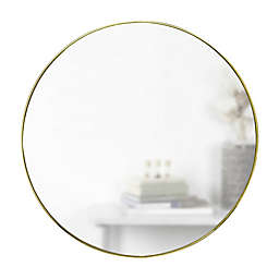 Umbra® Hubba 34-Inch Round Wall Mirror in Brass