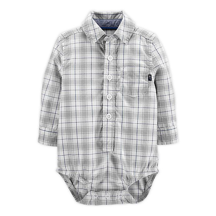 Alternate image 1 for OshKosh B'gosh® Plaid Button-Front Bodysuit