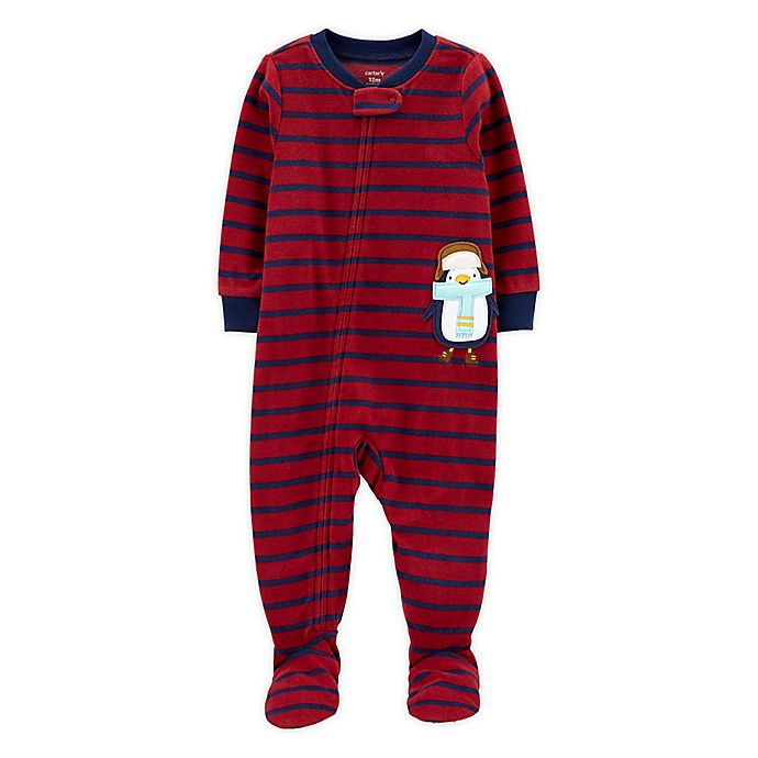 Alternate image 1 for carter's®  1-Piece Penguin Fleece Footie Pajamas