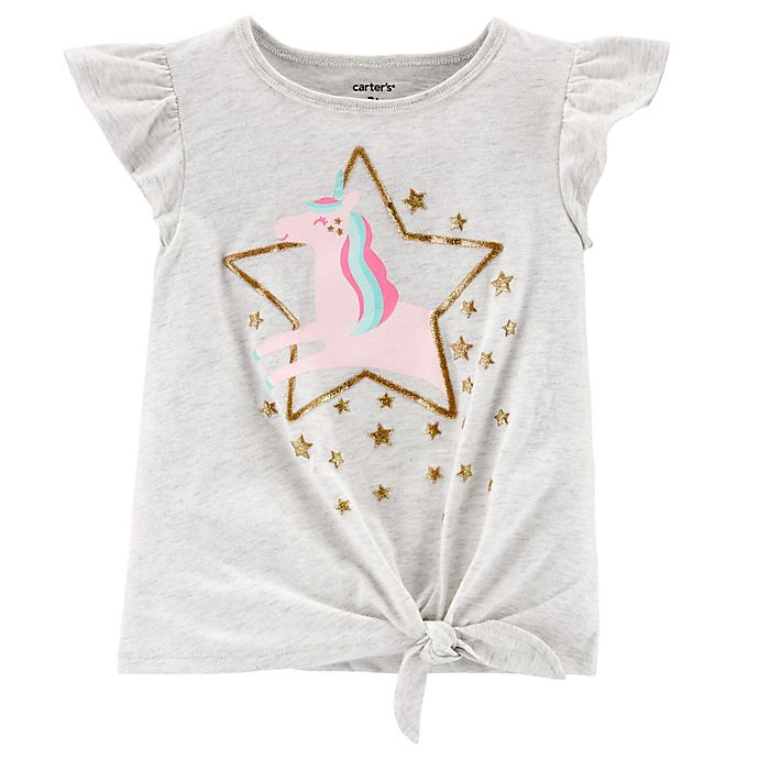 Alternate image 1 for carter's® Glitter Tie-Front Jersey T-Shirt