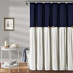 Lush Decor Color Blocking Shower Curtain in Navy