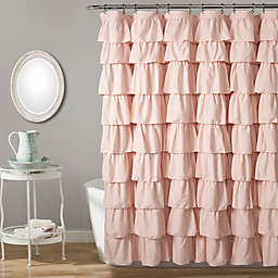 Lush Decor Ruffle Shower Curtain in Blush