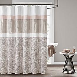 510 Design Shawnee Embroidered Shower Curtain in Blush