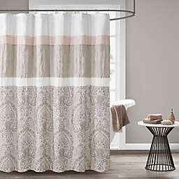 510 Design Shawnee Embroidered Shower Curtain in Blush