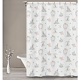 Sweet Jojo Designs Bunny Floral Shower Curtain in Blush/Multi