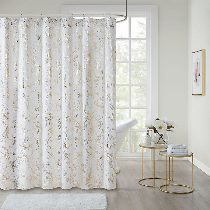 Alternate image 1 for Intelligent Design Magnolia Printed Floral Metallic Shower Curtain