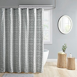 Intelligent Design Annie Clipped Jacquard Seersucker Shower Curtain in Grey
