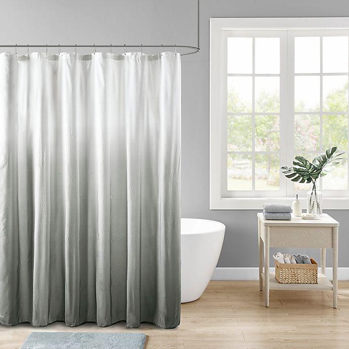 Alternate image 1 for Madison Park Ara Ombre Printed Seersucker Shower Curtain in Grey