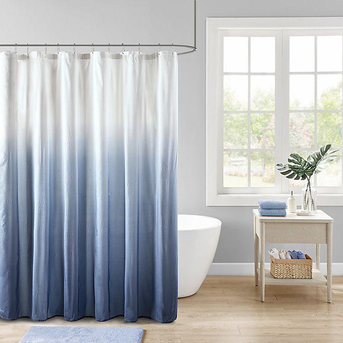 Alternate image 1 for Madison Park Ara Ombre Printed Seersucker Shower Curtain