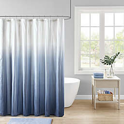 Madison Park Ara Ombre Printed Seersucker Shower Curtain in Blue