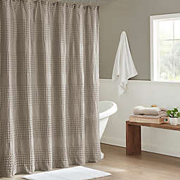 Madison Park Arlo Super Waffle Textured Solid Shower Curtain in Taupe