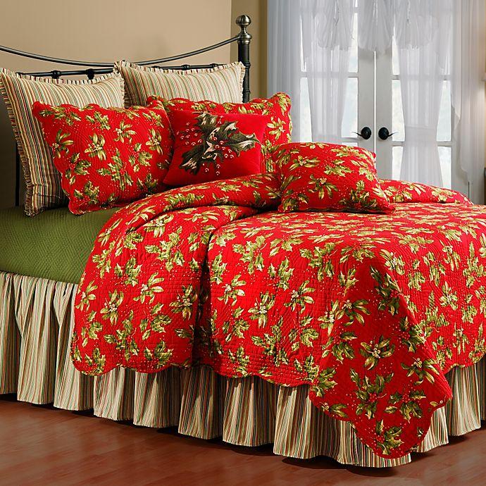 Alternate image 1 for Mistletoe & Holly Twin Quilt