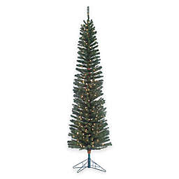 Pre-Lit Pencil Fir Christmas Tree with Brown Trunk with Clear Lights