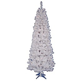 Vickerman White Salem Pine Pencil Pre-Lit Christmas Tree with Clear Lights