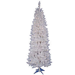 Vickerman Sparkle White Spruce Pre-Lit Pencil Christmas Tree with Clear Lights