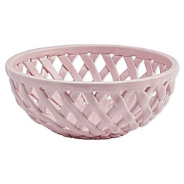 Modern Farmhouse Home Floral Bread Basket in Pink