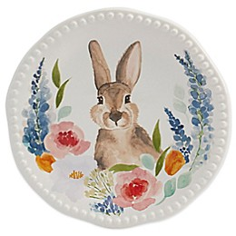 Modern Farmhouse Home Floral Bunny Salad Plate