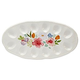 Modern Farmhouse Home Floral 16-Inch Egg Platter