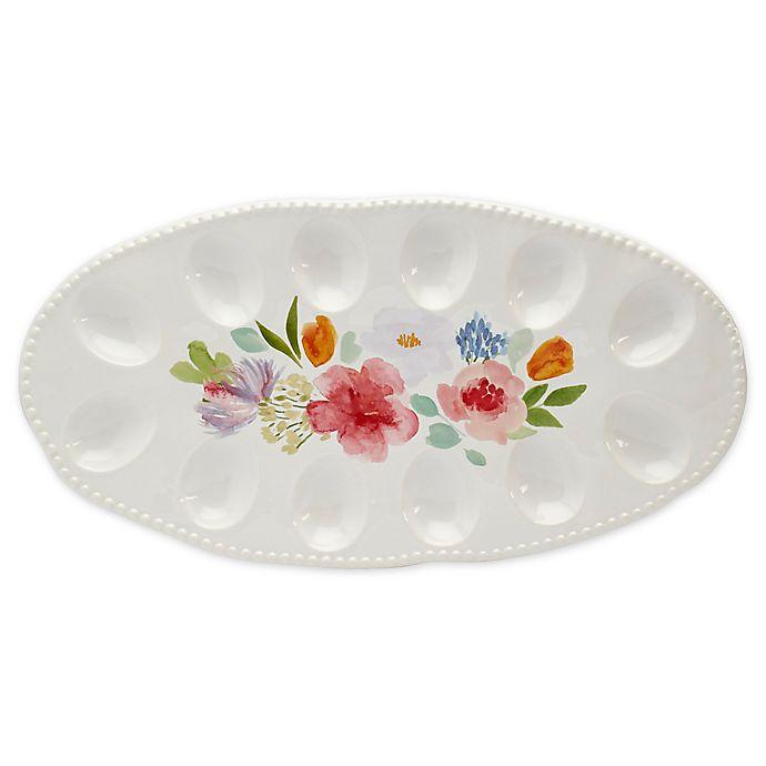 Alternate image 1 for Modern Farmhouse Home Floral 16-Inch Egg Platter