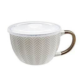18 oz. Coffee Mug with Lid in Cream