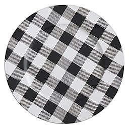 Saro Lifestyle Buffalo Plaid Charger Plates in Black/White (Set of 4)