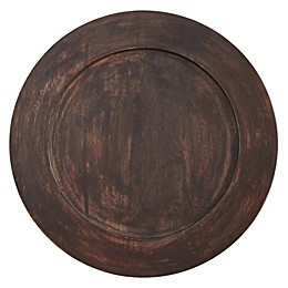 Saro Lifestyle Grain de Bois Charger Plates in Brown (Set of 4)
